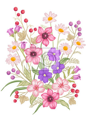 Vector Bouquet Of Pink Yellow And White Flowers And Green Leaves