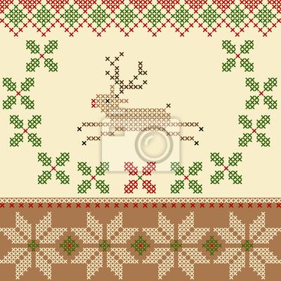 Vector Christmas Stickerei Kreuzstich-Stil