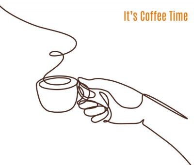 Bild Vector coffee illustration drawn with one line. Hand with a cup of coffee.