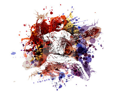 Vector color illustration of a baseball player