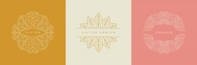 Bild Vector design templates in simple modern style with copy space for text, flowers and leaves - wedding invitation backgrounds and frames, social media stories wallpapers