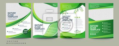 Bild Vector eco flyer, poster, brochure, magazine cover template. Modern green leaf, environment design. - Vector