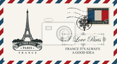 Bild Vector envelope or postcard in retro style with Eiffel tower, postmark in form of French coat of arms and postage stamp with French flag. Inscription I love Paris