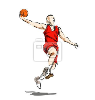 Vector Farbe Linie Skizze Basketball-Spieler