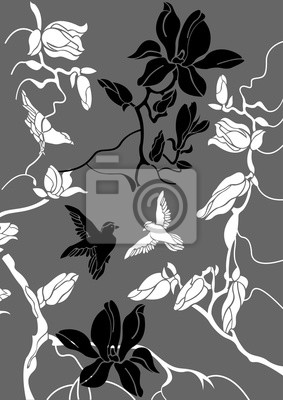 Vector Floral Background Mit Vögeln Schwarz Und Weiß Abbildung