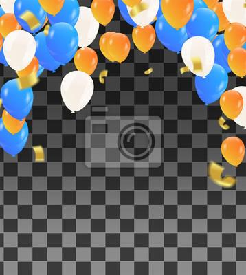 Bild Vector Glückwunschkarte mit Ballonen und Geburtstagstext auf orange und weißem blauem Hintergrund.
