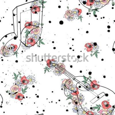 Bild Vector grafische Illustration des nahtlosen Musters von Gitarrenmusikanmerkungen, Blumenblattniederlassungs-Tropfenfängerfleck-Flecktinte, splodge, Spray Skizzenzeichnungs-Gekritzelart Künstlerisches