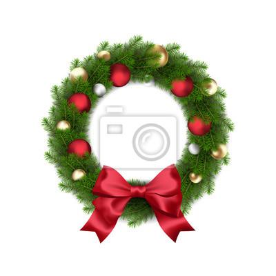 Kranz Aus Weihnachtskugeln.Bild Vector Green Christmas Kranz Mit Weihnachtskugeln