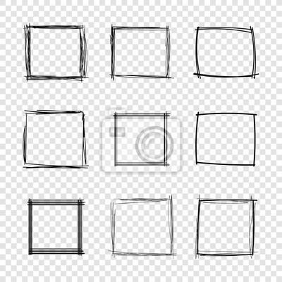 Bild Vector Hand Drawn Scribble Square Frames on Transparent Background.