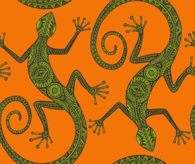 Bild Vector Hand gezeichnet nahtlose Muster mit monochromen Eidechse oder Sal
