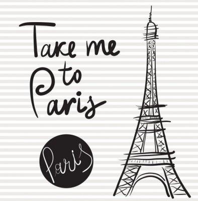 Bild Vector Hand gezeichnete Illustration mit Eiffelturm