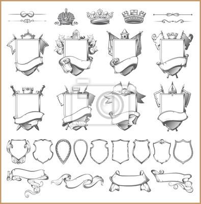 Vector heraldischen element sammlung und wappen der vorlage ...
