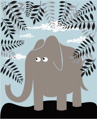 Bild Vector Hintergrund mit Elefanten und Laub
