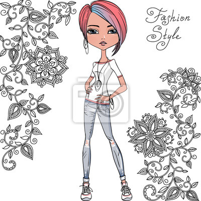 Bild Vector hipster Mode Mädchen
