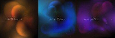Bild Vector illustration. Blurred wallpaper. Nebula in space. Abstract banner. Dark starry background. Milky Way. Minimalist concept. Cosmic sky. Design element for social media template, web banner