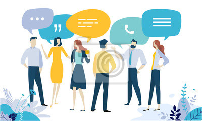 Bild Vector illustration concept of testimonial, social media, networking, business communication, forum, product review. Creative flat design for web banner, marketing material, business presentation.
