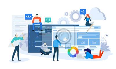 Bild Vector illustration concept of website and app design and development. Creative flat design for web banner, marketing material, business presentation, online advertising.