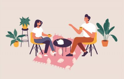 Bild Vector illustration couple sitting at the table, drinking tea or coffee and talking. Romantic date in a cafe.