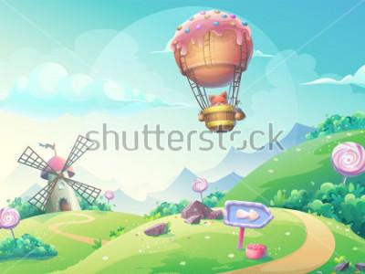 Bild Vector Illustration einer Landschaft mit Marmeladensüßigkeitsmühle und -fuchs im blimp. Für den Druck, erstellen Sie Videos oder Web-Grafik-Design, Benutzeroberfläche, Karte, Poster.