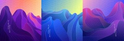 Bild Vector illustration. Landscape set. Hills, mountains. Linear wave concept. Striped background. Asian style. Japanese line pattern. Design for social media template, web banner. Blue, purple color