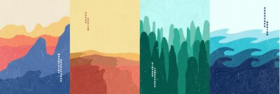 Bild Vector illustration landscape. Wood surface texture. Mountains, desert, forest, sea. Japanese wave pattern. Mountain background. Asian style. Design for poster, book cover, web template, brochure.