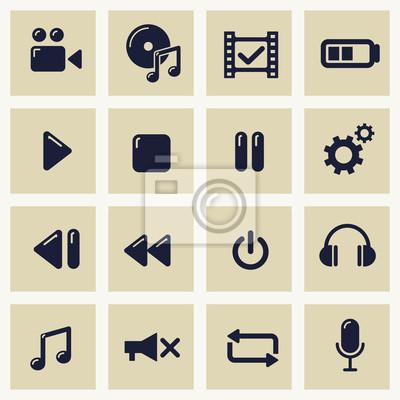 Bild Vector Illustration mit Icons Set von Multimedia-Symbole
