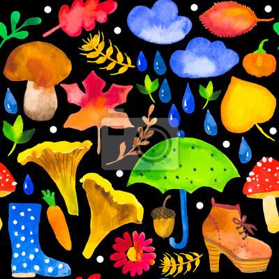 Bild Vector Illustration mit Original-Aquarell Hintergrund.