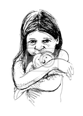 Vector illustration of a little girl with a doll