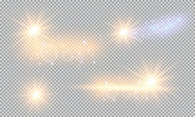 Bild Vector illustration of abstract flare light rays. A set of stars, light and radiance, rays and brightness. Glow light effect. Vector illustration. Christmas flash Concept