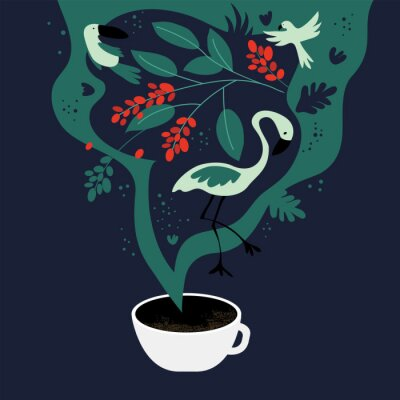 Bild Vector illustration of cup of espresso with fancy scent. The dreams about tropics, equatorial regions where coffee plants are cultivated. Template with toucan,flamingo, parrot for banner, poster,flyer
