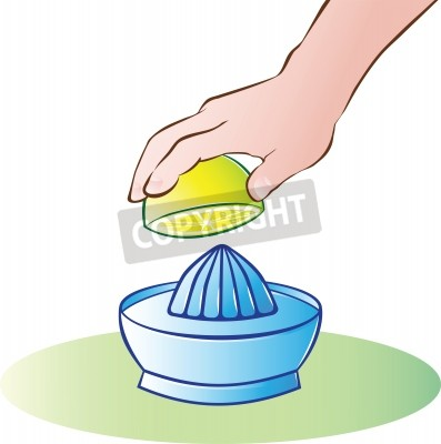 Bild vector illustration of hand juicing lemon
