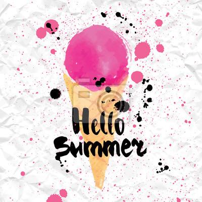 Bild Vector illustration of ice cream in a cone.