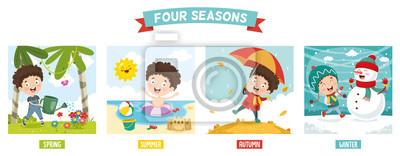 Bild Vector Illustration Of Kid And Four Seasons