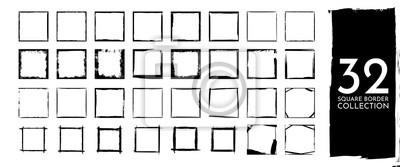 Bild Vector illustration. Set of frames in grunge style. Dirty frame with a splash of black paint. Transparent background. Design elements for banner, poster, flyer, invitation, card, social networks