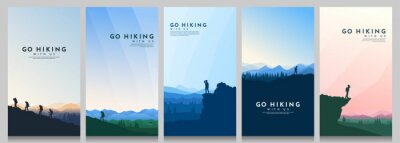 Bild Vector illustration. Travel concept of discovering, exploring and observing nature. Hiking. Climbing. Adventure tourism. Flat design for flyer, voucher, poster, invitation, gift card.