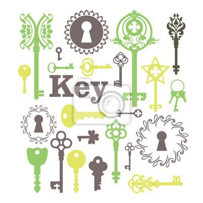 Bild Vector Illustration von Vintage-Schlüssellöcher & Tasten.