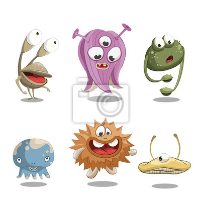 Bild Vector Illustration with funny little monsters.