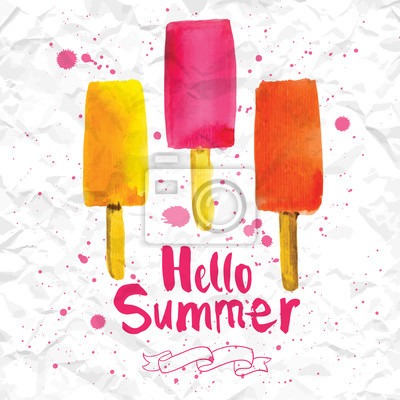 Bild Vector illustration with ice cream on a stick.