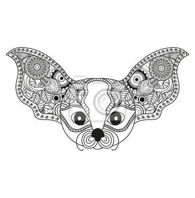 Vector Illustrator Eines Fantasy Tier Mandala Für Malbuch Animale