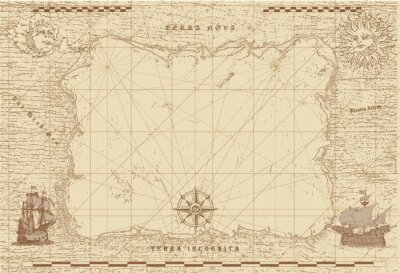 Bild vector image of an old sea map in the style of medieval engravings