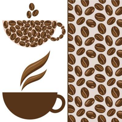Vector Kaffee-Set, Tasse, Kaffeebohnen und Muster