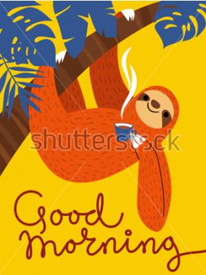 Bild Vector Karte mit nettem Trägheitscharakter und Kaffeetasse. Guten Morgen Poster.
