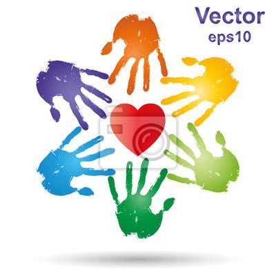 Vector Konzeptionelle Kinder Gemalt Handabdruck Und Herzen Isoliert