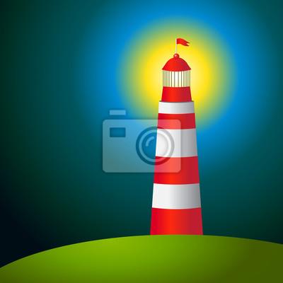 Vector Leuchtturm auf der Insel im Dunkeln