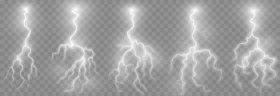 Bild Vector lightning, lightning png set, thunderstorm, lighting. Natural phenomenon, light effect. PNG.