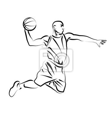 Vector Line Skizze Basketballspieler