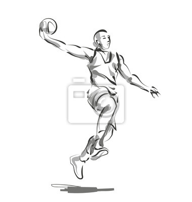 Vector Linie Skizze Basketball-Spieler