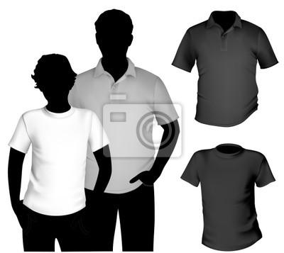 Vector. männer schwarz und weißem t-shirt und polo-shirt-vorlage ...