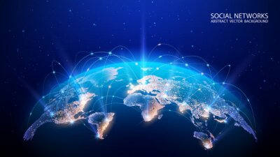 Bild Vector. Map of the planet. World map. Global social network. Future. Blue futuristic background with planet Earth. Internet and technology. Floating blue plexus geometric background.