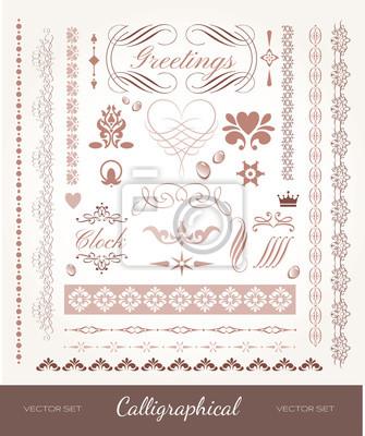 Bild Vector mit kalligraphischen Elementen und Seite Dekoration gesetzt.